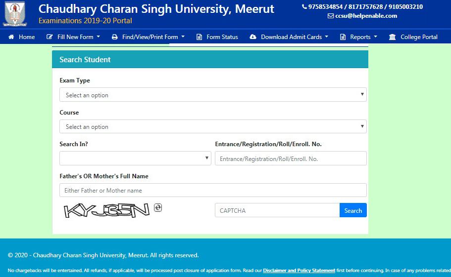 CCS University Exam Form 2020